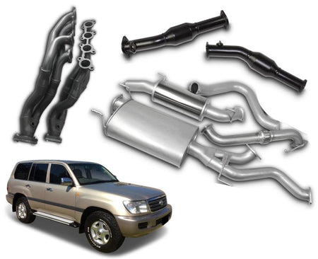 "2.5"" to 3"" Stainless Steel Exhaust System with Extractors for 4.7lt V8 Petrol Toyota Landcruiser 100 Series Wagon UZJ100 (1998 - 2007 Models) – Beast Unleashed Performance Exhausts"