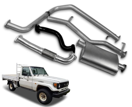 "2.5"" Stainless Steel Exhaust System for 4.2lt Non-Turbo Diesel Toyota Landcruiser 75 Series Ute (01/1990 - 01/2002 Models) – Beast Unleashed Performance Exhausts"