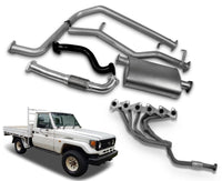 "2.5"" Stainless Steel Exhaust System with Extractors for 4.2lt Non-Turbo Diesel Toyota Landcruiser 75 Series Ute (01/1990 - 01/2002 Models) – Beast Unleashed Performance Exhausts"