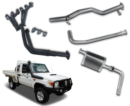 "2.5"" Exhaust System with Extractors for 4.2lt Non-Turbo Diesel Toyota Landcruiser 79 Series Single Cab Ute (1999 Onwards Models) – Beast Unleashed Performance Exhausts"