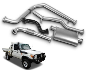 "2.5"" Stainless Steel Exhaust System for 4.2lt Non-Turbo Diesel Toyota Landcruiser 79 Series Single Cab Ute - For Original Manifold (1999 Onwards Models) – Beast Unleashed Performance Exhausts"