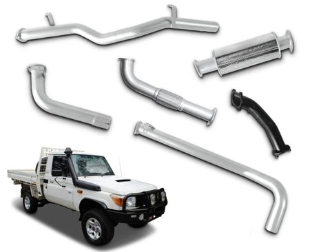 "3"" Turbo-Back Stainless Steel Exhaust System for 4.2lt DTS Turbo Upgrade Toyota Landcruiser 79 Series Single Cab Ute (1999 Onwards Models) – Beast Unleashed Performance Exhausts"