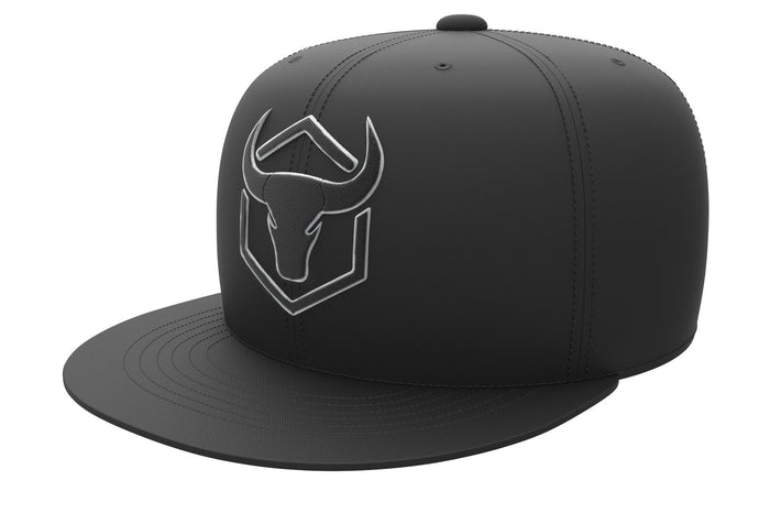 black-black acrylic snapback iron bull strength