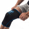black-blue knee support sleeves how to put on