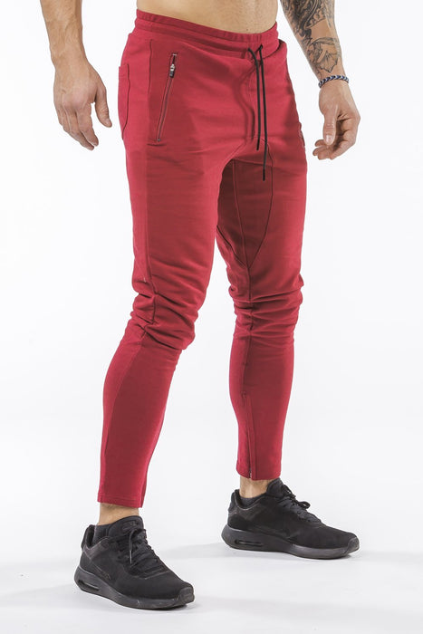 burgundy iron bull strength men joggers classic zip pockets