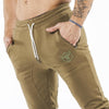 khaki iron bull strength joggers classic zip front pockets