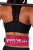 pink squat and deadlift belt iron bull strength