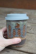Load image into Gallery viewer, Crescent Moon in a Distant Forest Travel Mug, 15 oz