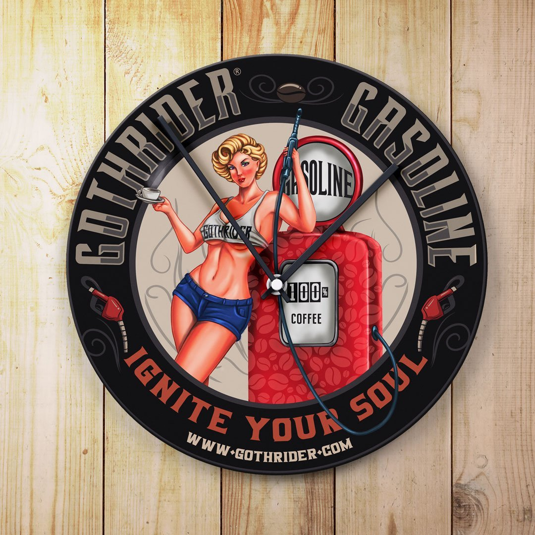 GothRider Gasoline Blondie Pin-Up Clock - GothRider®