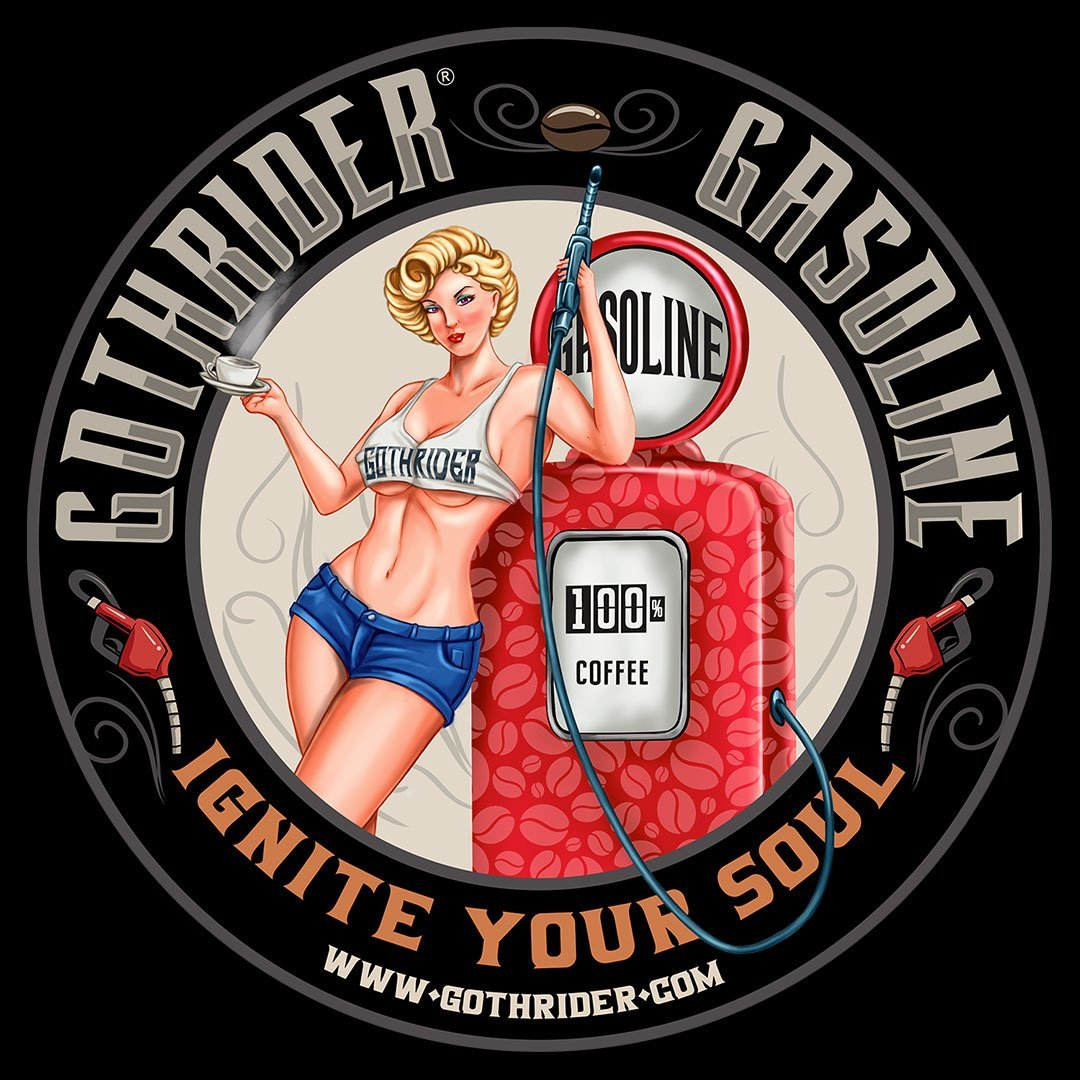 GothRider Gasoline Coffee Blondie Pin-Up Round Bumper Sticker - GothRider®