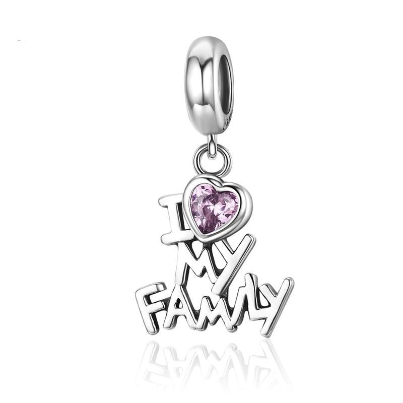 Genuine Sterling Silver I Love My Family Heart Dangle Charms Fit Women Charm Bracelets Jewelry Family Gift