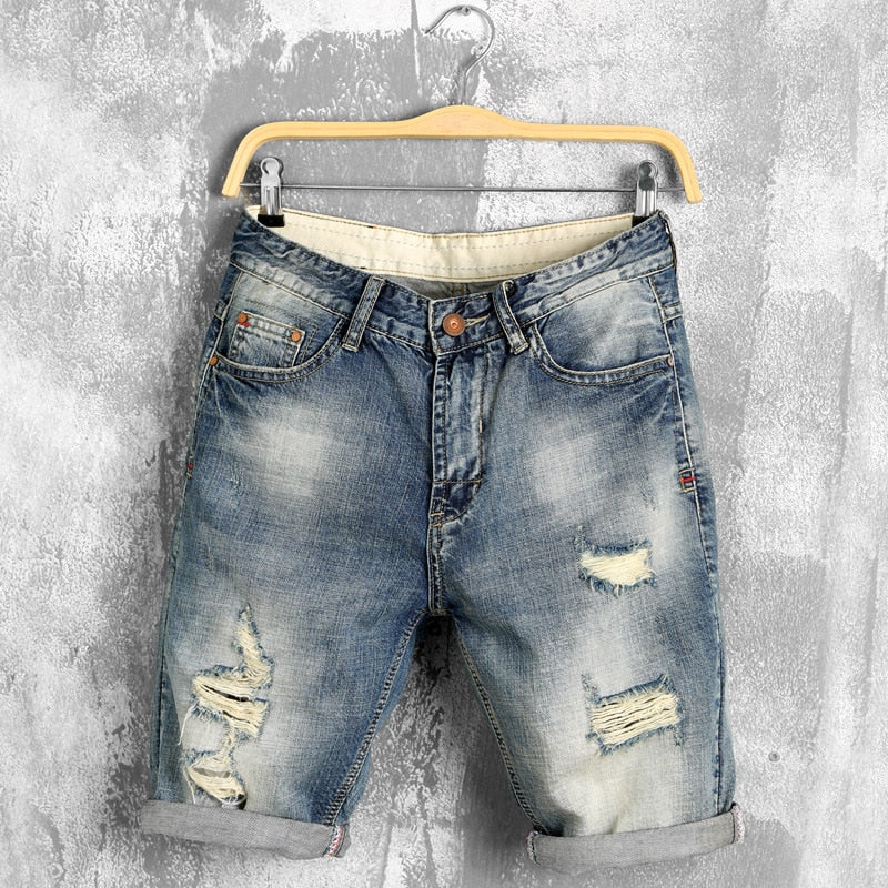 Plus Size Summer Denim Shorts Jeans Men Blue Straight Ripped Distressed Hip Hop Shorts