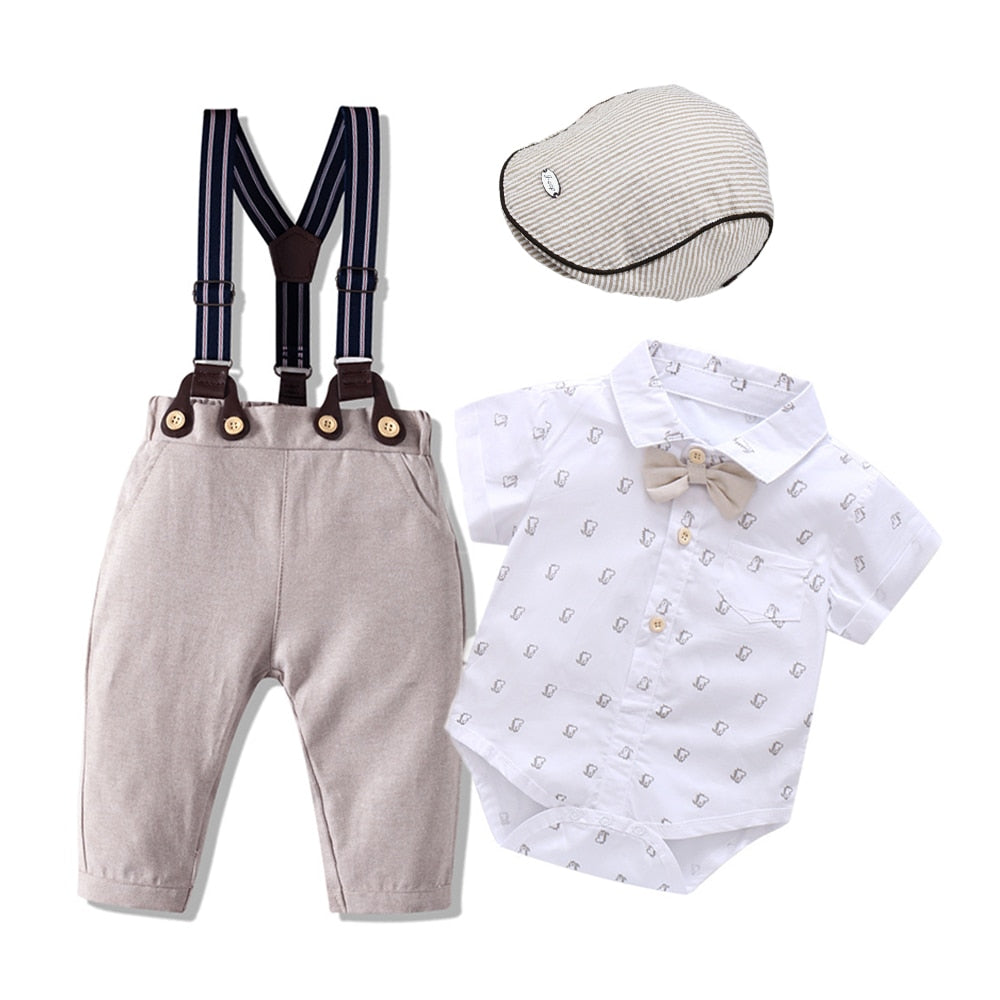 Newborn Baby Boys Clothes Cotton Clothing Infant Printed Bodysuit + Bib Pants Outfit Fashion Children Costume