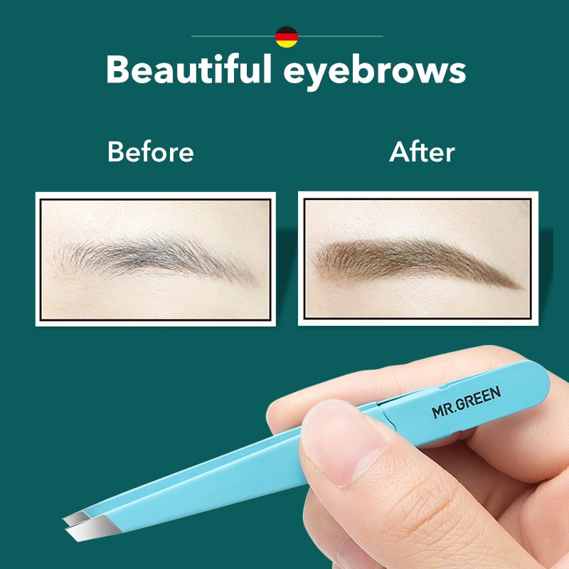 MR.GREEN  Eyebrow Tweezer Colorful Hair Beauty Fine Hairs Puller Stainless Steel Slanted Eye Brow Clips