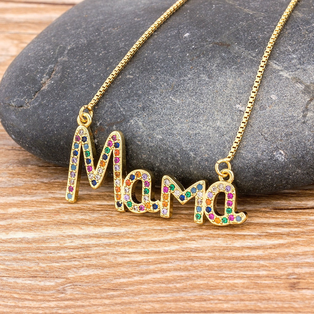 Elegant Mother's Day Gift MaMa Letter Name Pendant Chain Necklaces Copper Cubic Zirconia Jewelry Gift For Women