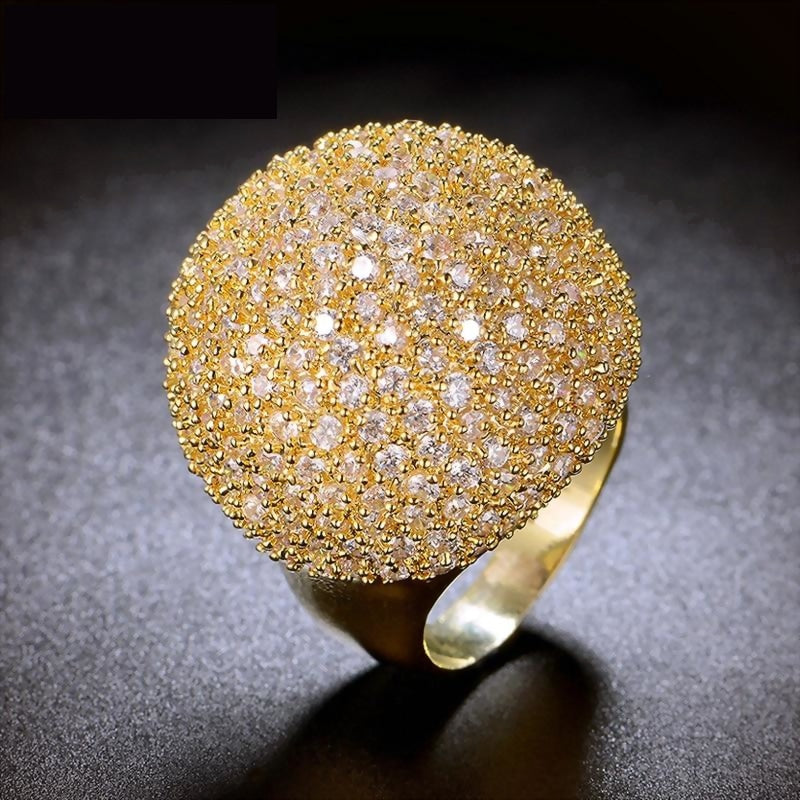 Crystal Luxury Chunky Ring Ball Shape Fashion Gorgeous High-Quality Pave Setting Jewelry New Big Rings