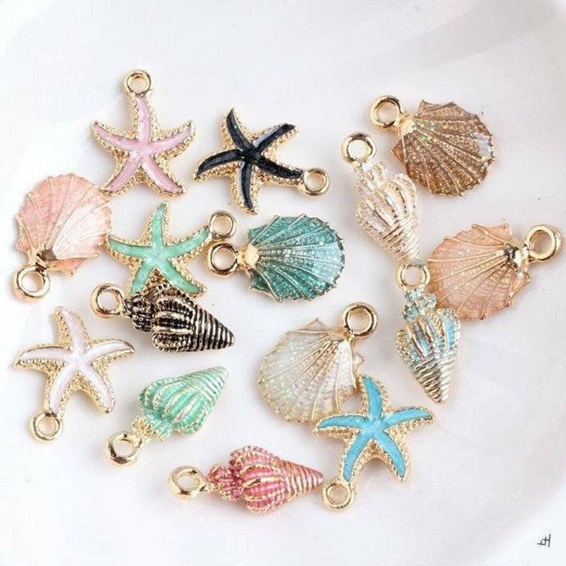Nice Conch Sea Shell Charms Ocean Pendants Starfish Anklet Bracelet Necklace DIY Handmade Accessories Craft 10/13Pcs