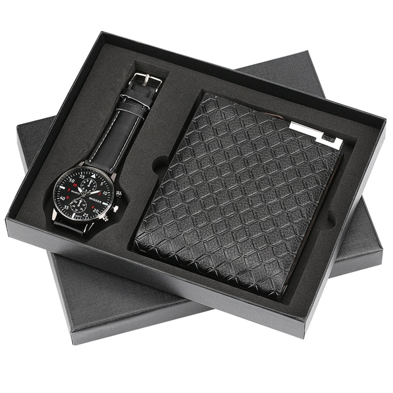 Men's Luxury Quartz Wrist Watch Card Holder Wallet Gift Set Watches For Dad Husband Boy Friend