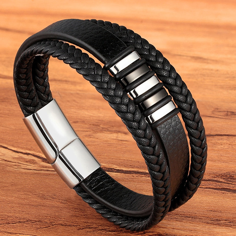 Stainless Steel Fashion Charm Magnetic Black Men Bracelet - Genuine Leather Braided Punk Rock Bangles Jewelry Accessories