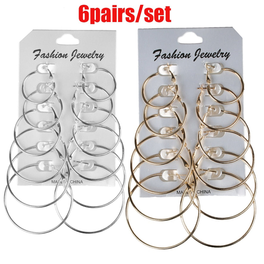 6Pairs /12Pairs Punk Hoop Earrings Set Big Circle Earrings Jewelry for Women Girls Steampunk Ear Clip Punk Earring  Ear Ring