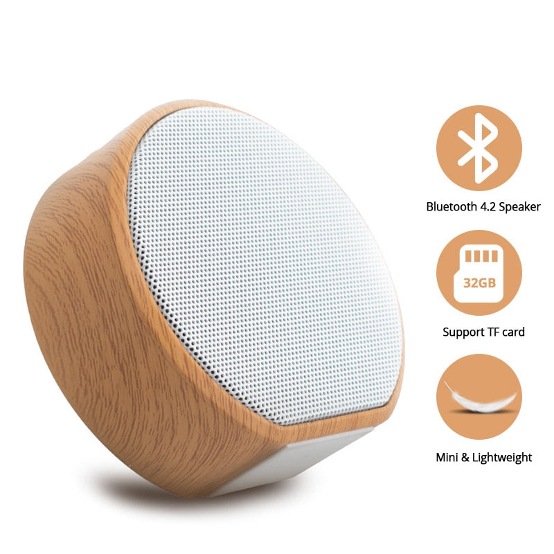 Ternzun A60 Bluetooth Speaker Portable Wood Mini Wireless Bluetooth Hands-Free TF Card Player AUX USB Bass Speaker
