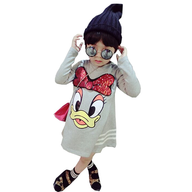 Girls Long-sleeved T-shirt Dress Cartoon Sequins Applique Princess Dress Loose Clothes