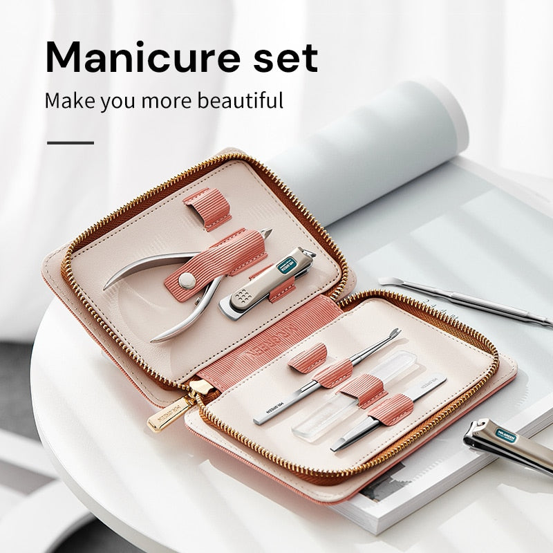 MR.GREEN Manicure Set Pedicure Sets Stainless Steel Professional Nail Clippers Tools & Travel Case Kit 7in1