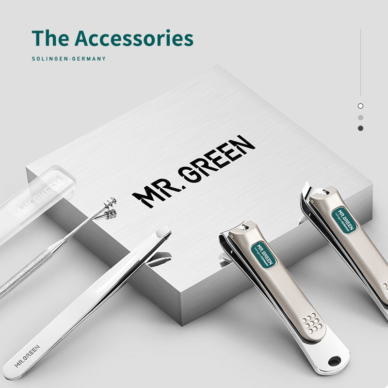 MR.GREEN Portable Manicure Set Pedicure kit Stainless Steel Nail Clippers Tool Travel Grooming Case
