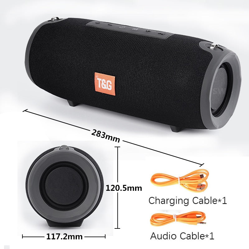 TG118 Bluetooth Speaker Bass Wireless Portable Column Waterproof Double Subwoofer Speakers