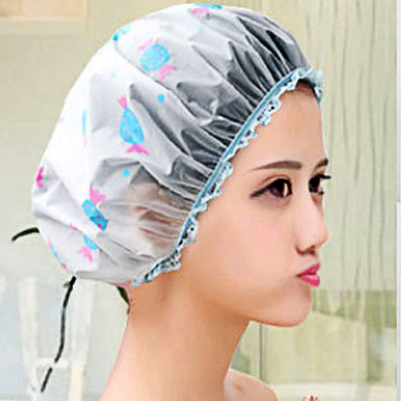 Shower Cap Thick Elastic Bath Hat Bathing Cap Women Hair Salon Dot Waterproof Bathroom Bathroom Accessories