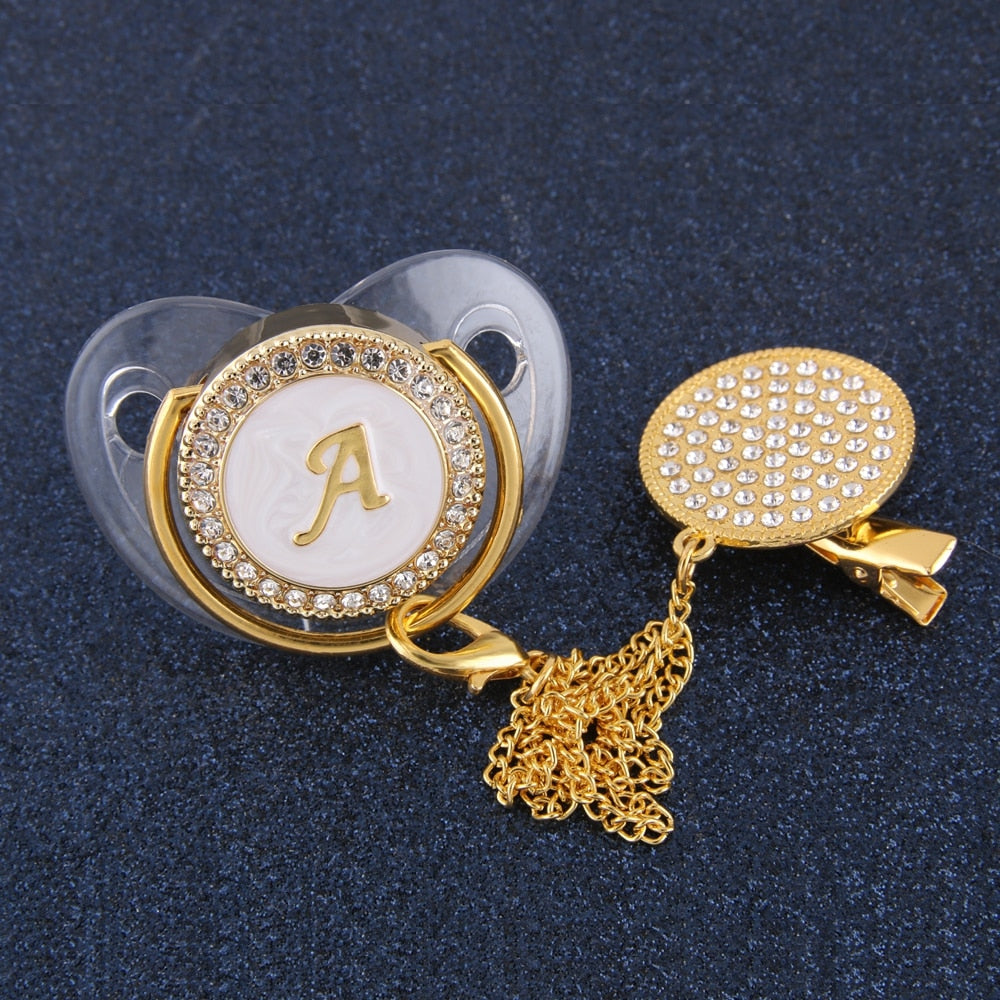26 Initial Letters Transparent Bling Newborn Kids Baby Orthodontic Dummy Teat Nipple Soother