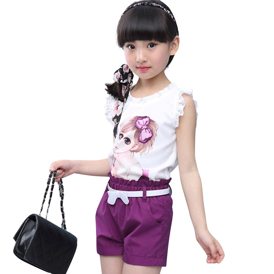 Summer Girls Clothes Set Cartoon Vest + Short Pants 2Pcs Children Clothing Teen Kids Girls Clothes 8 10 12 14 Years