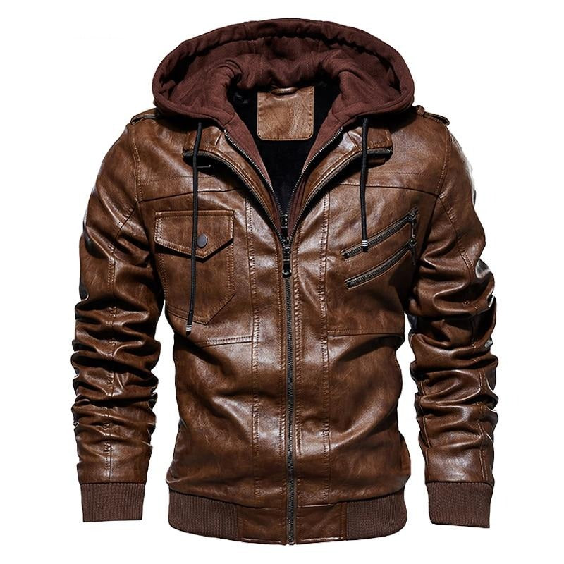 New Men's Hooded Leather Jackets Autumn Casual Motorcycle PU Jacket Biker Leather Coats Brand Clothing