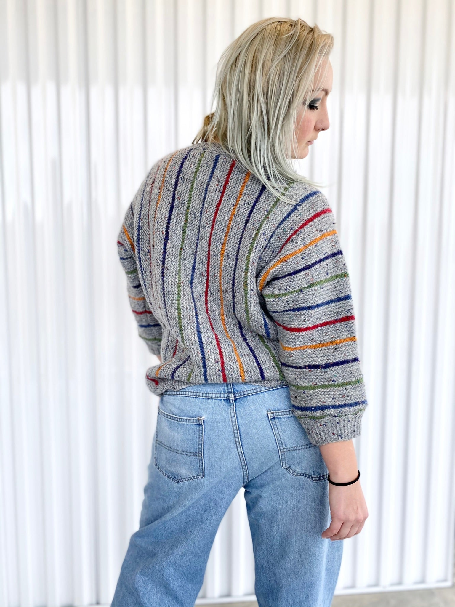 Wool Sweater Cardigan with Stripes