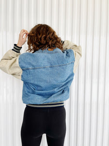 Crooked Tree Denim/Canvas Varsity Jacket (L)