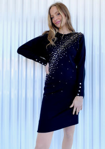 Black Wool/Rayon Rhinestone Dress (2)