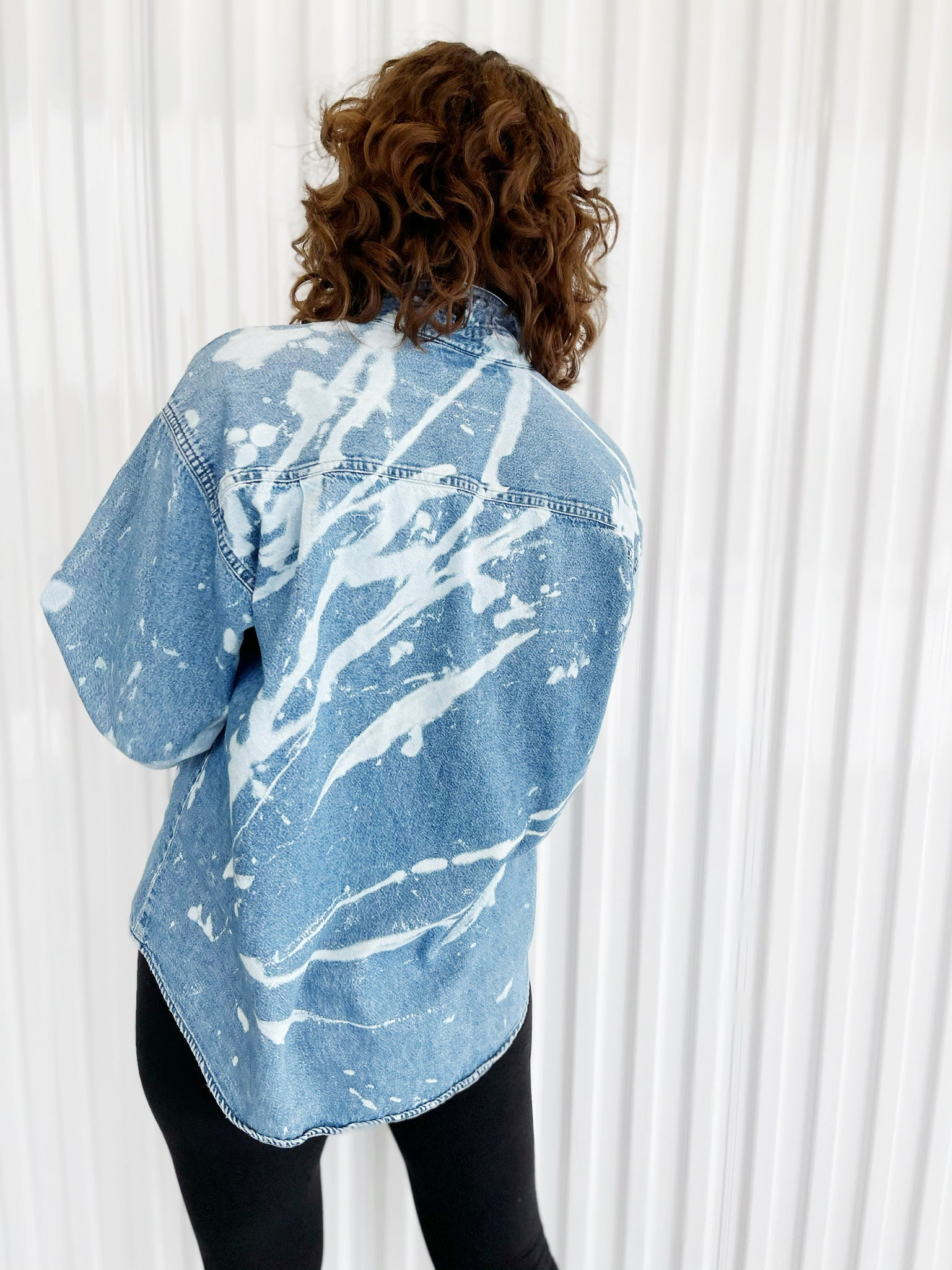 Bleach Dyed Denim Button Up (8)