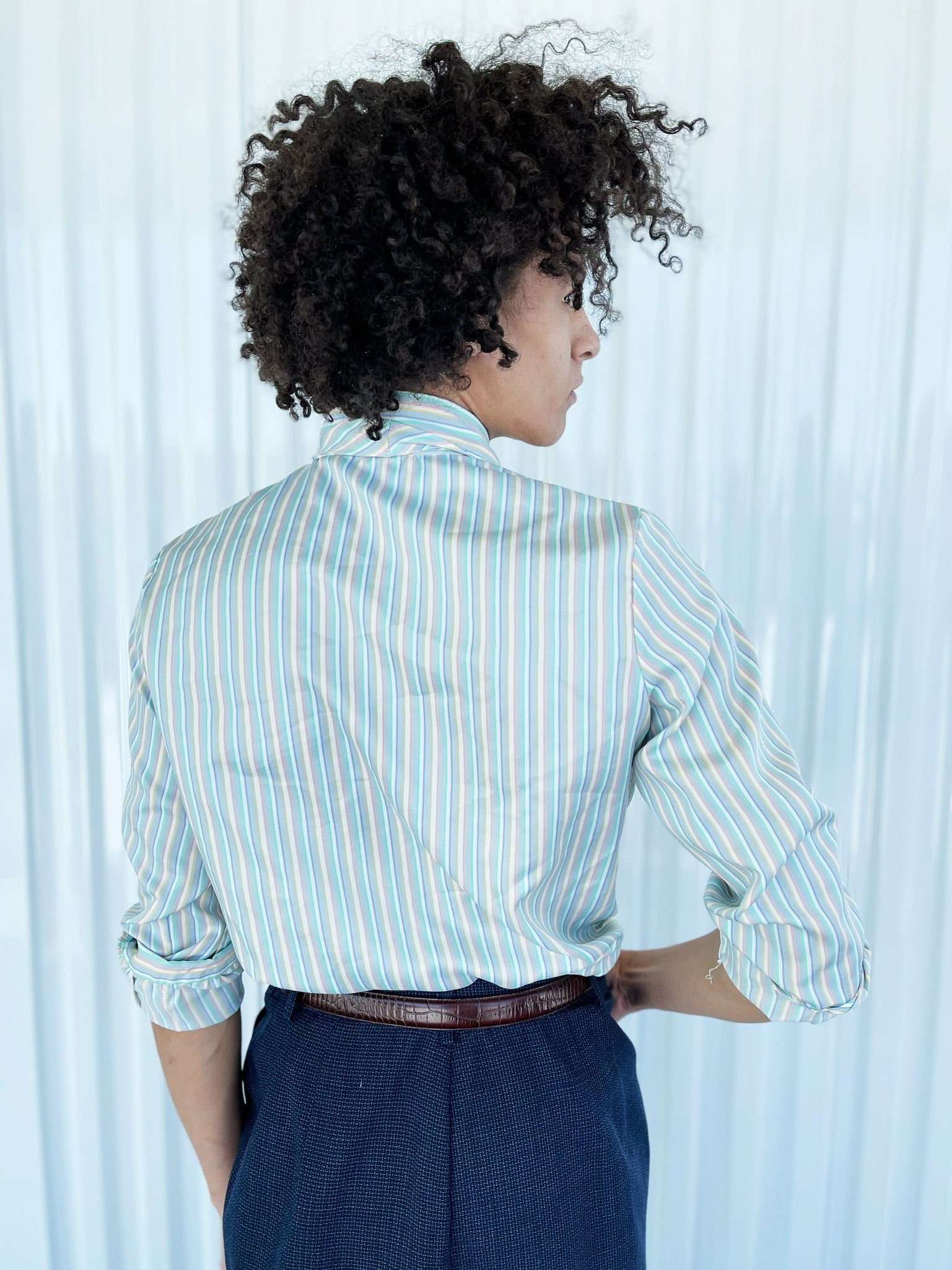Pastel Striped Blouse with Pussybow