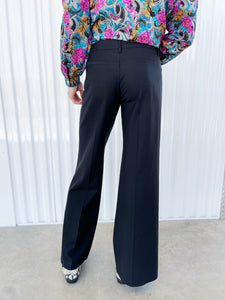 Theory Black Wide Legged Trousers (4)