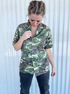 Camo Short Sleeved Button Up