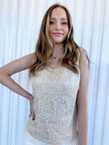 Cream Sequin and Beaded Tank (M)
