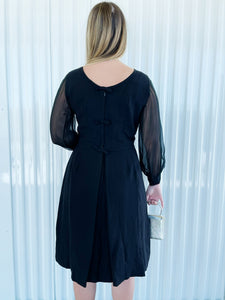 Black Dress with Sheer Sleeves