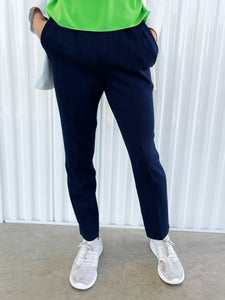 St John Navy Knit Pleated Pants (2)