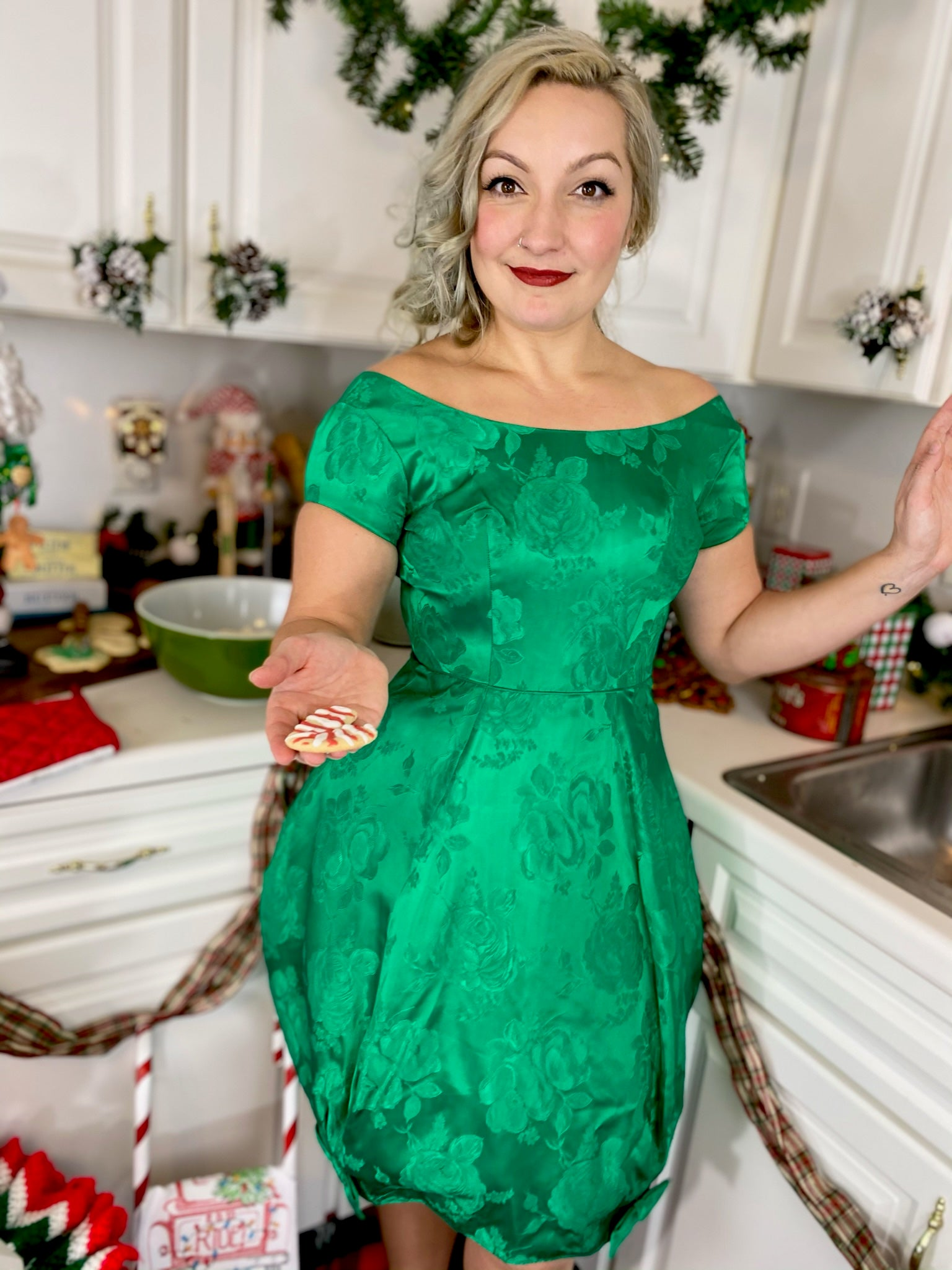 Green Brocade Dress with Tulle Skirt