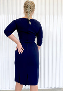Navy Dress with Beaded Neckline