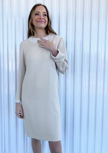 Chetta B Ivory Dress with Pearl Neckline (6)