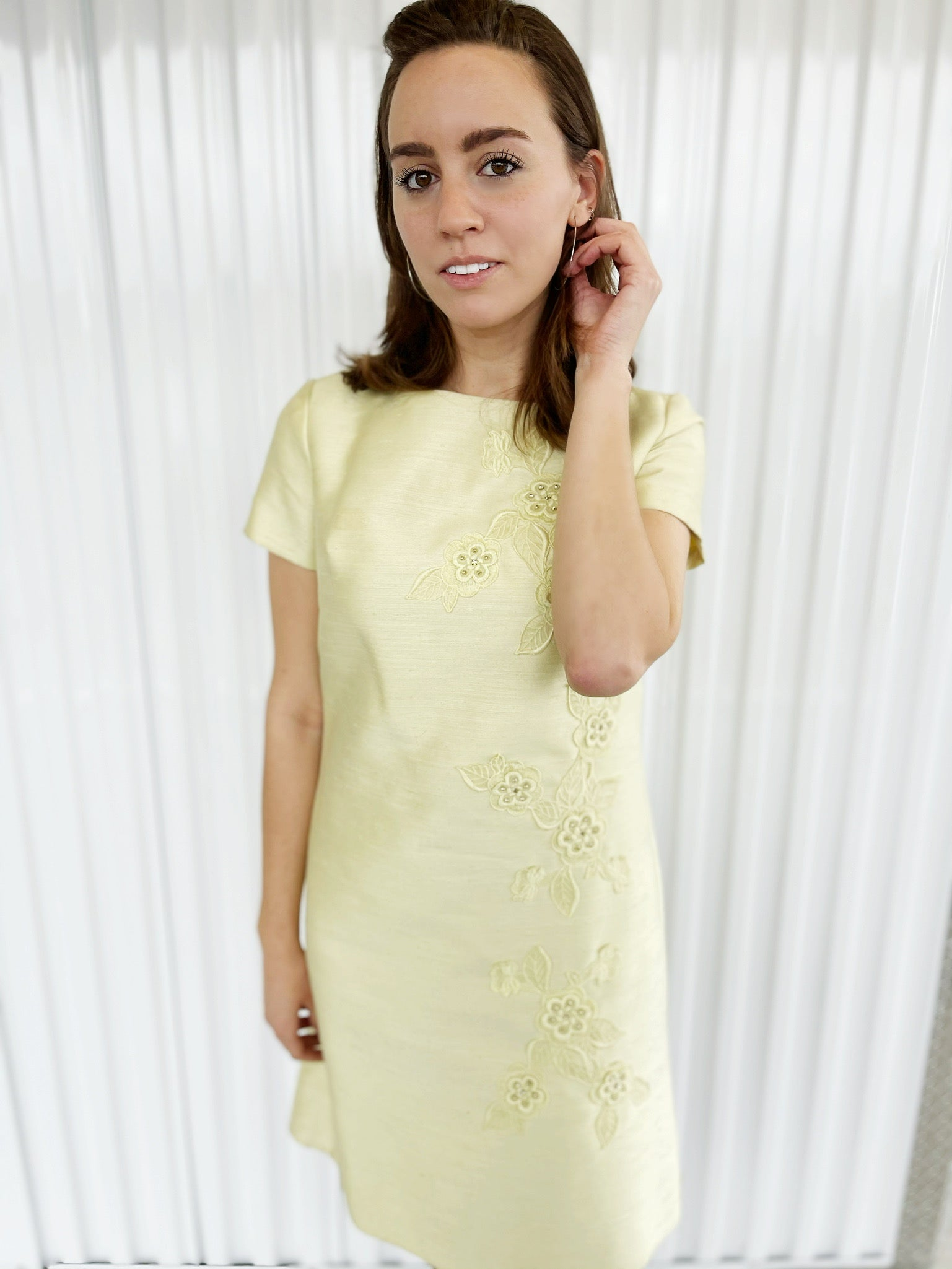 Yellow Shift Dress with Floral Design
