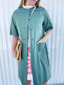 Green Button Up Swing Jacket