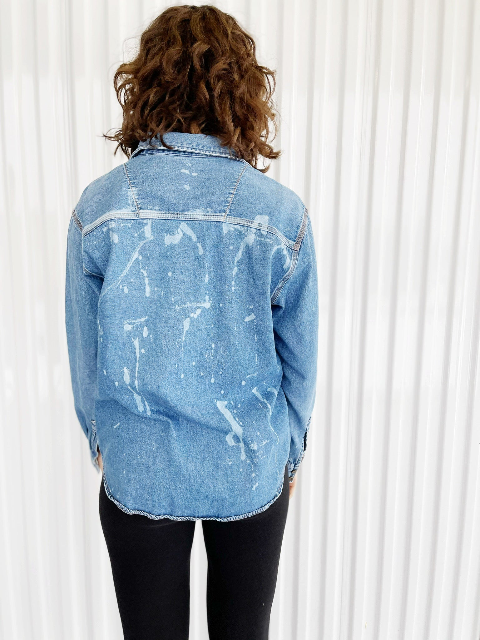 Denim Button Up with Bleach Dyed Pockets (M)