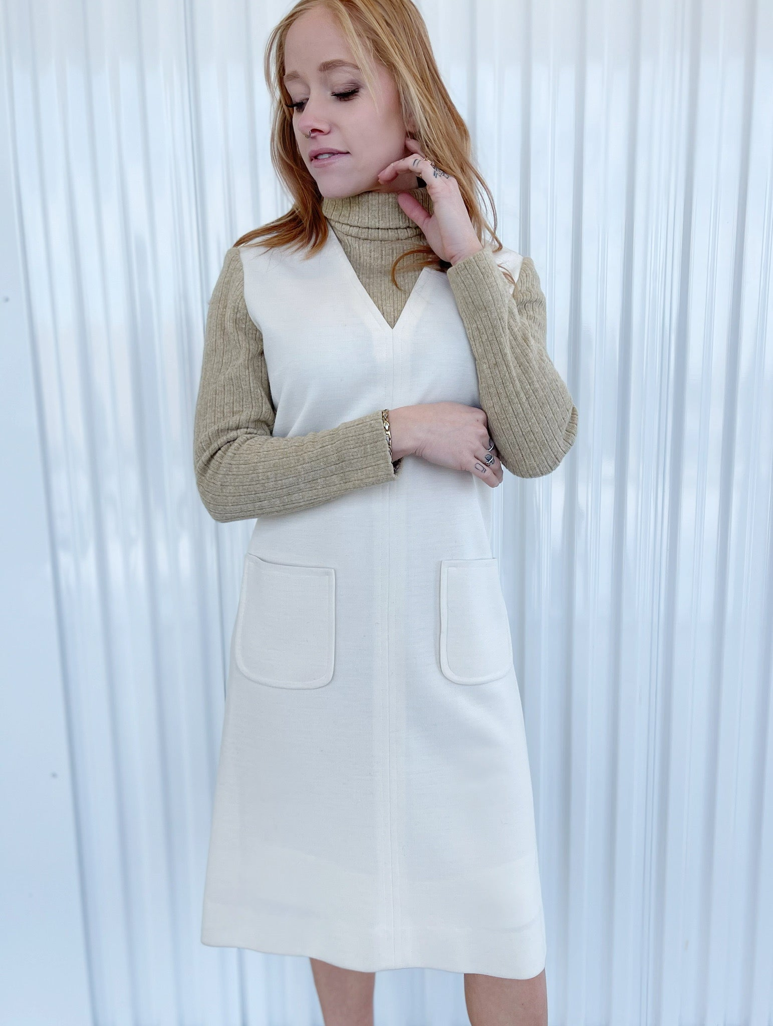 Carlye Cream Dress with Ribbed Attached Turtleneck